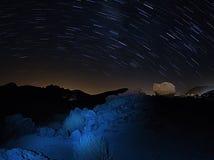 Tracce della stella in parco nazionale Teide Tenerife Fotografie Stock Libere da Diritti
