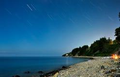 Tracce della stella sulla spiaggia fotografia stock libera da diritti