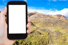 tracce delle fotografie del turista in Landmannalaugar Immagini Stock