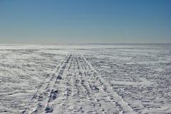 Tracce di snowmobile Fotografia Stock