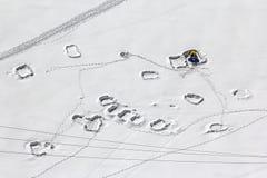 Tracce nella neve, veduta nelle alpi europee Fotografia Stock Libera da Diritti