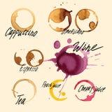 Tracce reali dello spruzzo dall'insieme dell'illustrazione di vettore delle bevande Fotografia Stock Libera da Diritti