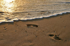 Tracce sulla sabbia Fotografie Stock Libere da Diritti