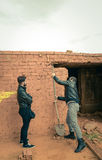 Tracción abajo de una pared Imagen de archivo