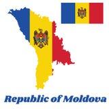 Tracci il profilo e la bandiera della Moldavia, un verticale tricolore del blu, del giallo e del rosso; incaricato della stemma c illustrazione vettoriale