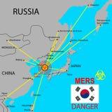 Tracci la diffusione di Mers Corona Virus Immagini Stock Libere da Diritti