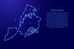 Tracci New York City dalla rete di contorni blu, spazio luminoso Fotografia Stock Libera da Diritti