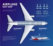 Tracci una carta del sedile dell'aeroplano, piano, del passeggero degli aerei L'aereo mette la vista a sedere superiore di piano  Fotografie Stock