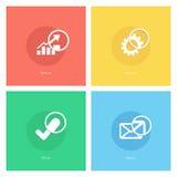 Tracci una carta dell'icona, innesti l'icona, l'icona del segno di spunta, icona della posta con la lente d'ingrandimento royalty illustrazione gratis