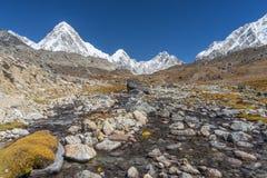 Traccia del campo base di Everest, regione di Everest Fotografia Stock