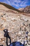 Traccia del ghiacciaio di Morteratsch Fotografie Stock Libere da Diritti