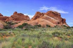 Traccia del giardino dei diavoli, arché parco nazionale, Utah immagine stock