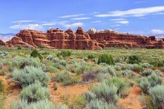 Traccia del giardino dei diavoli, arché parco nazionale, Utah fotografia stock