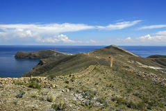 Traccia del Inca su Isla del Sol con Titicaca Fotografie Stock Libere da Diritti