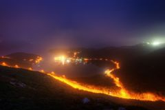 Traccia del paese di Hong Kong High Junk Peak della baia di Po Toi O fotografie stock libere da diritti