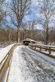 Traccia del ponte coperto di Snowy immagine stock libera da diritti