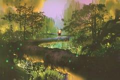 Traccia della cima d'albero, uomo che sta nella foresta di fantasia Fotografia Stock Libera da Diritti