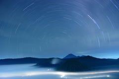 Traccia della stella al vulcano di Bromo Fotografia Stock Libera da Diritti