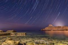 Traccia della stella del cielo notturno fotografie stock