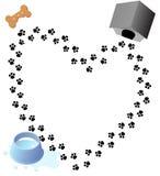 Traccia delle stampe della zampa di amore del cucciolo Fotografia Stock Libera da Diritti