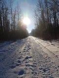 Traccia dello Snowy fotografia stock libera da diritti