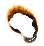 Traccia di carta bruciata su fondo bianco Fotografie Stock
