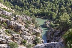 Traccia di escursione Caminito del Rey Vista della gola di Gaitanes in EL Ch immagine stock libera da diritti