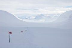 Traccia di escursione del pattino del paese trasversale Kungsleden Fotografie Stock Libere da Diritti