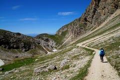 Traccia di escursione meravigliosa su alp de siusi Val Gardena/verso sud nel Tirolo/Italia Immagini Stock