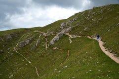 Traccia di escursione meravigliosa sull'alpe della montagna Val Gardena/verso sud nel Tirolo/Italia Fotografia Stock