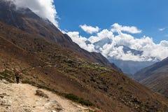Traccia di montagna di camminata di viaggiatore con zaino e sacco a pelo, villaggio del Nepal Immagini Stock
