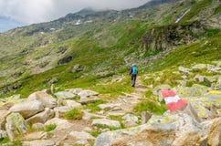 Traccia di segno del percorso della montagna, alpi austriache Immagine Stock