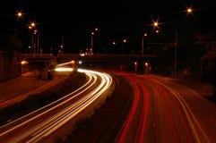 Traccia di traffico di notte Immagini Stock