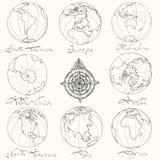 Traccia i continenti dell'atlante Immagine Stock