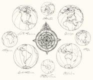 Traccia i continenti dell'atlante Fotografia Stock
