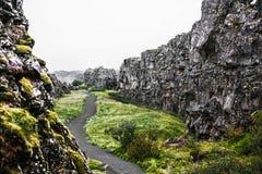Traccia islandese in canyon roccioso fotografia stock libera da diritti