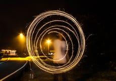 Traccia leggera del fuoco d'artificio fotografie stock