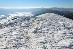 Traccia nella neve Immagini Stock Libere da Diritti