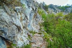 Traccia rocciosa sulle montagne Fotografia Stock