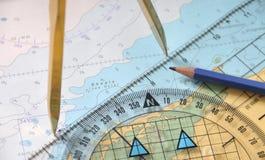 Tracciando su un Seamap Fotografia Stock