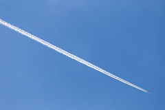 Trace of the aircraft in the sky Stock Images