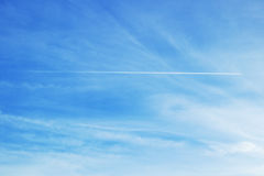 Trace of aircraft in the sky Stock Photo