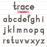 Trace alphabet lowercase letters. Trace alphabet vector design illustration. Learn handwriting. a-z lowercase Stock Photo