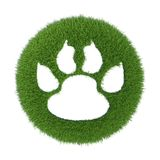 Trace of the animal on the green grass. 3d rendering on white background Royalty Free Stock Image