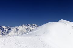 Trace of avalanche on off-piste slope Stock Images