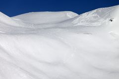 Trace of avalanche on off-piste slope Royalty Free Stock Photo