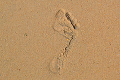 Trace of a bare foot of the person on sand Royalty Free Stock Photo