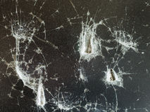 Trace of blows on damaged protective glass. Of LCD monitor close up Royalty Free Stock Photo