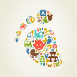Kid a trace. Trace of the child made of toys. A vector illustration Stock Photo
