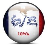 Trace con Dot Pattern en el botón de la bandera del estado de los E.E.U.U. Iowa Imágenes de archivo libres de regalías